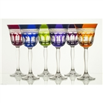 Beautiful set of six crystal tulip shaped wine glasses.  Classic diamond cut pattern all done by hand in Poland.  Six different colors in a set.  Each base has a small circular etching with the  24% PBO (genuine lead crystal) trademark (see picture).