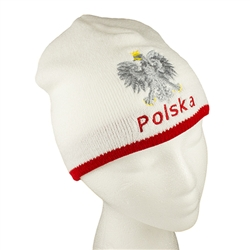 "Display your Polish heritage! White with red trim stretch ribbed-knit skull cap, which the Polish emblem under the word ""Polska"" (Poland). Easy care acrylic fabric. One size fits most. Imported from Poland."