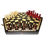 Chess for three is a unique invention of a Polish university professor from Krakow, Poland.  Each set is hand made of Linden wood.  Chess board is hand made from Linden wood and burned by hand. Game rules included in English, French, German and Spanish wi