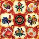 "Polish Folk Art Dinner Napkins (package of 20) - ""Wycinanki Pisanki"" - Paper Cut Eggs.  Three ply napkins with water based paints used in the printing process."