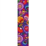 This is a beautiful Lowicz style wycinanka printed on a bookmark featuring 'Polska' Multi Folk Flowers with Purple background.