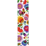 This is a beautiful Lowicz style wycinanka printed on a bookmark featuring 'Polska' Multi Folk Flowers with White background.