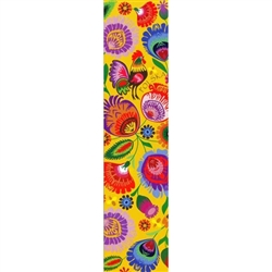 This is a beautiful Lowicz style wycinanka printed on a bookmark featuring 'Polska' Multi Folk Flowers with Yellow background.