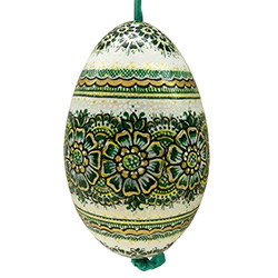 This beautifully designed goose egg is hand painted by master folk artist Krystyna Szkilnik from Opole, Poland. The painting is done in the traditional style from Opole. Signed and dated (2014) by the artist and ready to hang. Eggs are blown and can last