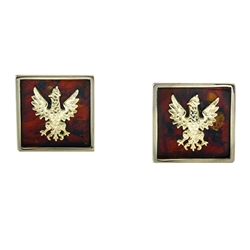 Beautiful pair of Sterling Silver cuff links featuring the Polish Eagle from the era of the last king of Poland (1764-1795) centered on a slice of cognac colored amber.