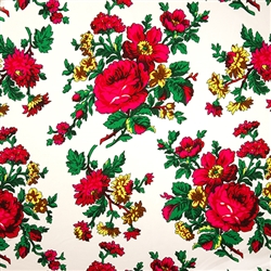 Traditional fabric for Polish costumes.  This material features large flowers. To make a typical skirt will require approximately 3 yards of material. Price is per yard. 10% discount for a whole bolt (approx 50 yards). Fabric sales are final and non-retur