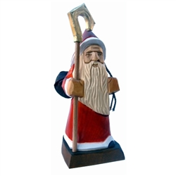 "Polish gnomes ,""Krasnoludki"", have been popularized in Polish children's fairy tales for many years. Authors Jan Brzecha and Maria Konopnicka immediately come to mind.  This beautiful hand carved St Nicholas gnome is on his way to deliver presents."