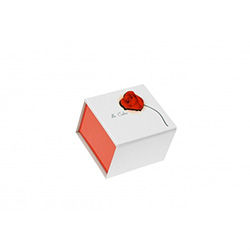 "The perfect gift box for that very special person.  Dla Ciebie means ""For You"" in Polish.  Printed in red and white, the Polish national colors.  The box top is cut out to fit a raised red rose motif.  Inside is a foam cushion covered with white velvet wi"