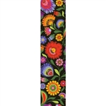This is a beautiful Lowicz style wycinanka printed on a bookmark featuring multi-colored folk flowers with a black background.