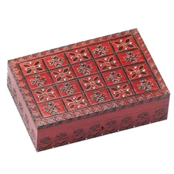 These boxes are entirely decorated by hand, using various combinations of carving, brass and copper inlays, burning, and staining techniques.  Lock & key, brass inlay, detailed pattern on top & sides. Burgundy high gloss finish.
