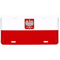 Polish Eagle/Flag License Plate made of corrosion resistant aluminum.  Standard US plate size with four slots for fastening.