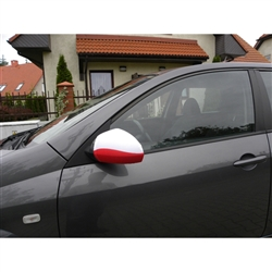 Display your Polish heritage with this unique side view mirror cover.  Turns the front side of your side view mirror into a miniature Polish flag.  Now that's clever!  Great for parades, funerals, or just cruising down the highway.  Designed to stretch fi