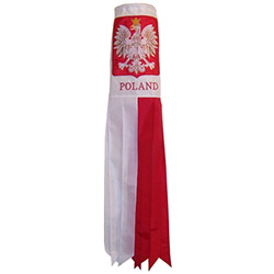 "This 40"" - 101cm  Polish windsock, made from weather resistant polyester features a Polish Eagle applique that is elegantly embroidered with gold and white thread.  Underneath is the word ""Poland"" also embroidered. A perfect decoration for your boat, porc"