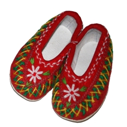 These Polish highland slippers are made from wool and are hand made and stitched.  They are very comfortable and feature cushy rubber like soles.  They come in a variety of two-tone colors and while we cannot guarantee a specific color they are all beauti