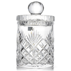 "Genuine Hand Cut 24% Lead Crystal Cookie Jar - 7"" Tall"