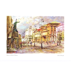 Beautiful print of a watercolor by Polish artist Michal Adamczyk.  This famous scene encompasses the Church of the Holy Cross in the foreground and the historic Bristol hotel in the background.  Suitable for framing.  Includes an envelope for mailing.