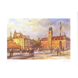 Beautiful print of a watercolor by Polish artist Michał Adamczyk. Looking to the northeast we see the famous Castle Square near the entrance to Warsaw's Old Town.  Suitable for framing.  Includes an envelope for mailing.  Packaged in clear resealable