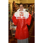 "Large lightweight red and white plastic rain poncho with the Polish Eagle on the front and the word ""Polska"" (Poland) on both back and front.  One size fits most.  Comes with its own plastic belt."
