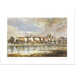 Beautiful print of a watercolor by Polish artist Wanda Maj-Adamczyk. Panoramic view of Warsaw's Old Town from the opposite bank of the Vistula river.  Suitable for framing.  Includes an envelope for mailing.  Packaged in clear resealable polypropylene.