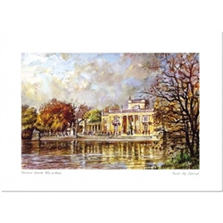 Beautiful print of a watercolor by Polish artist Wanda Maj-Adamczyk.  The famous Lazienki Palace as seen from the water in front. Suitable for framing.  Includes an envelope for mailing.  Packaged in clear resealable polypropylene.