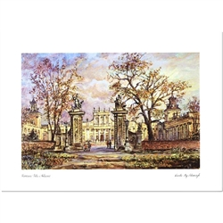 Beautiful print of a watercolor by Polish artist Wanda Maj-Adamczyk.  The entrance to Wilanow, the summer palace used by the kings of Poland on the outskirts of present day Warsaw.  Includes an envelope for mailing.  Packaged in clear resealable polypropy