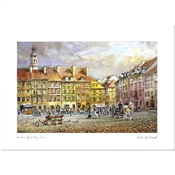 Beautiful print of a watercolor by Polish artist Wanda Maj-Adamczyk.  View of Warsaw's Old Town Market Square.  Suitable for framing.  Includes an envelope for mailing.  Packaged in clear resealable polypropylene.