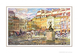 Beautiful print of a watercolor by Polish artist Wanda-Maj Adamczyk.  View of Warsaw's Old Town Market Square and the monument of the symbol of Warsaw, the Syrena.   Suitable for framing.  Includes an envelope for mailing.  Packaged in clear resealable po