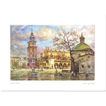 Beautiful print of a watercolor by Polish artist Michal Adamczyk.  Looking to the west we see the main square with the Ratusz (Town Hall) and Sukiennice (Cloth Hall) in the background.   Suitable for framing.  Includes an envelope for mailing.  Packaged i