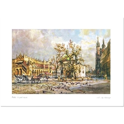 Beautiful print of a watercolor by Polish artist Michal Adamczyk.  Looking to the north we see the main square with the Church Of St. Mary  and Sukiennice (Cloth Hall) in the background.   Suitable for framing.  Includes an envelope for mailing.  Packaged
