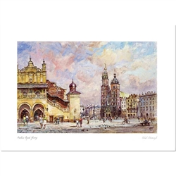 Beautiful print of a watercolor by Polish artist Michal Adamczyk.  Looking to the north we see the main square with the Sukiennice (Cloth Hall) and the Church Of St. Mary in the background.   Suitable for framing.  Includes an envelope for mailing.  Packa