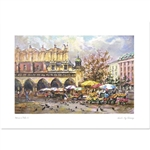 Beautiful print of a watercolor by Polish artist Michal Adamczyk.  This is the northeast corner of the Cloth Hall where the flower vendors set up their stands each day.  Suitable for framing.  Includes an envelope for mailing.  Packaged in clear resealabl