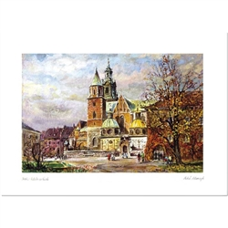 Beautiful print of a watercolor by Polish artist Michal Adamczyk.  Wawel Cathedral is the burial place for Polish kings and many famous Poles.  Suitable for framing.  Includes an envelope for mailing.  Packaged in clear resealable polypropylene.