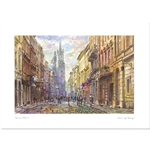 Beautiful print of a watercolor by Polish artist Michal Adamczyk. View to the south towards St. Mary's Church near the Main Square. Suitable for framing.  Includes an envelope for mailing.  Packaged in clear resealable polypropylene.