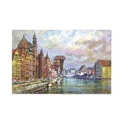 Beautiful print of a watercolor by Polish artist Michal Adamczyk. Looking north on the waterfront near Old Town.  Suitable for framing.  Includes an envelope for mailing.  Packaged in clear resealable polypropylene.