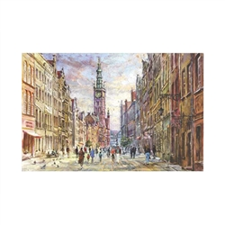 Beautiful print of a watercolor by Polish artist Michal Adamczyk. Looking east on the main street of Old Town Gdansk with the Town Hall in the background.  Suitable for framing.  Includes an envelope for mailing.  Packaged in clear resealable polypropylen