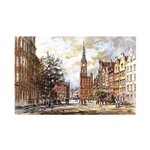 Beautiful print of a watercolor by Polish artist Michal Adamczyk. Looking west on the main street of Old Town Gdansk with the Town Hall in the background.  Suitable for framing.  Includes an envelope for mailing.  Packaged in clear resealable polypropylen