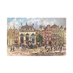Beautiful print of a watercolor by Polish artist Michal Adamczyk. Looking north we see the famous fountain of Neptune in front of the Artus Manor nestled between the other historic buildings on Long Street.  Suitable for framing.  Includes an envelope for