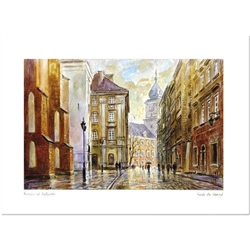 Beautiful print of a watercolor by Polish artist Wanda Maj-Adamczyk. Looking southeast towards the Royal Palace in the background.  Suitable for framing.  Includes an envelope for mailing.  Packaged in clear resealable polypropylene.