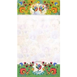 Perfect to hang on a refrigerator or lay on a desk.  72 sheet color note pad decorated in a Polish paper cut desi