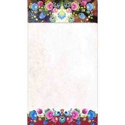 "Perfect to hang on a refrigerator or lay on a desk. 72 sheet color note pad decorated in a Polish paper cut design (wycinanka) from the Lowicz region of Poland. Size - 4.25"" x 7.5"". Large magnet on the back. These make great gifts for crafters, paper cut"