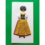 This card is dressed with material and wooden head to give a very special doll-like effect.   Our maiden is from the Slask region (SIlesia) in southern Poland.