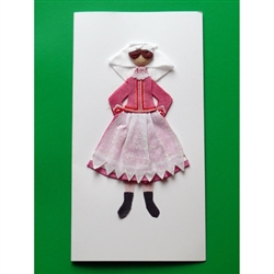 This card is dressed with material and wooden head to give a very special doll-like effect.   Our maiden is from Rzeszow in southeastern Poland.