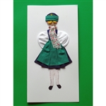 This card is dressed with material and wooden head to give a very special doll-like effect.   Our maiden is from the Kaszub region in northern Poland.