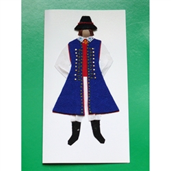 This card is dressed with material and wooden head to give a very special doll-like effect.   Our man is from the Kaszub region in northern Poland.