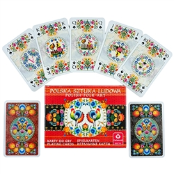 Delightful set of Polish playing cards featuring a large variety of Lowicz style paper cut designs. Made in Krakow.  Double deck of 55 cards each.