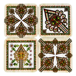 This handsome set of 4 colorful cork coasters features reproductions of traditional Polish mountain designs (parzenica) and flowers (szarotka - edelweiss).  Coated with plastic for long wear and easy cleanup.