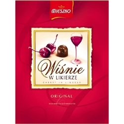 Deluxe box of dark chocolate covered cherries in liqueur. Contains alcohol so these are not for children. 258g/9.1oz. Made In Poland.