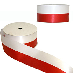 "Red and white satin ribbon featuring the colors of the Polish flag.  Extra wide 2.5"" - 7cm.  Perfect for gift wrapping, Polish heritage and genealogical displays, scrap booking, floral arrangements, patriotic displays, funeral arrangements, party decorati"