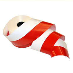 "Red and white waterproof propylene ribbon featuring the colors of the Polish flag.  Extra wide 4"" - 10cm.  Perfect for Polish heritage and genealogical displays, scrap booking, floral arrangements, patriotic displays, funeral arrangements, party decoratio"