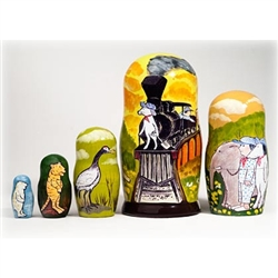 This charming and colorful nesting doll features scenes from John Burningham's children's book Hey! Get Off Our Train. In the story, a boy takes a magical train ride and meets endangered animals along the way: an elephant, seal, stork, tiger and polar bea